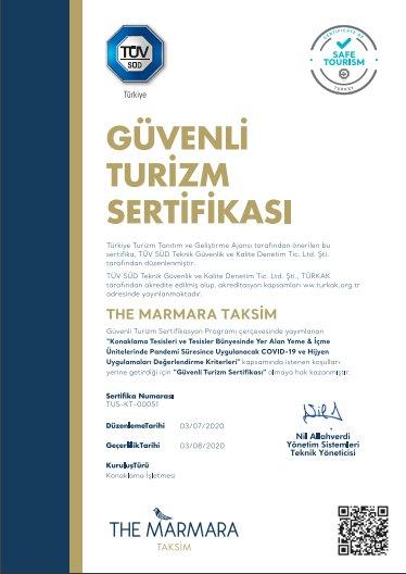 """The Marmara Taksim, """"Güvenli Turizm Sertifikası""""nı Almaya Hak Kazandı"""